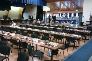 An empty playing hall just before the start of the final round.