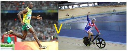 Usain Bolt running, Chris Hoy cycling